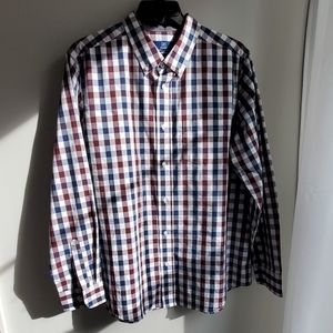 George Classic Fit Navy and Burgandy Button Down